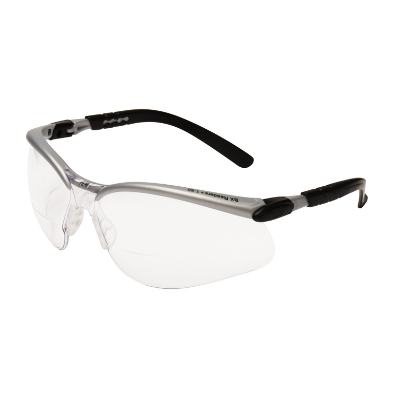 3M BX 1.5 Diopter Silver and Black Frame Safety Gl