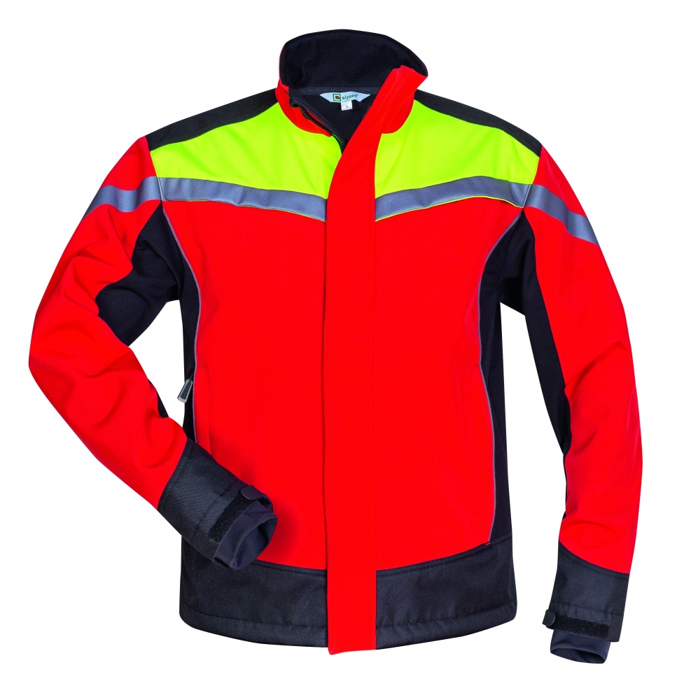 Elysee 22755 ESCHE Forestry work softshell jacket red black yellow